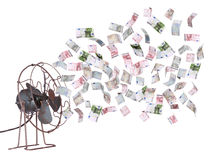 Vieux déflecteur et billets de banque européens Image stock