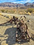 Vieux détails rouillés en ville fantôme Ballarat ; Parc national de Death Valley, la Californie, Etats-Unis photographie stock