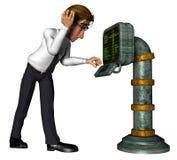 vieux dessin animé d'ordinateur de l'homme d'affaires 3d illustration stock
