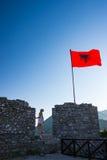 Vieux drapeau de château de Shkoder Albanie Image libre de droits