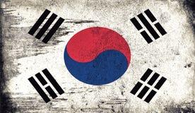 Vieux drapeau de cru de la Corée du Sud La texture d'art a peint le drapeau national de la Corée illustration de vecteur
