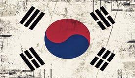 Vieux drapeau de cru de la Corée du Sud La texture d'art a peint le drapeau national de la Corée illustration stock