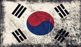 Vieux drapeau de cru de la Corée du Sud La texture d'art a peint le drapeau national de la Corée illustration libre de droits