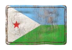 Vieux drapeau de Djibouti Photo stock
