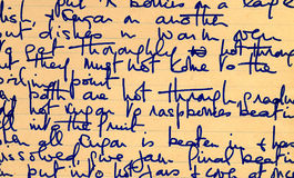 Vieux détail d'écriture de recette Images libres de droits