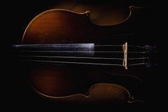 Vieux Dusty Violin Details Photographie stock
