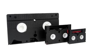 Vieux dv analogique de VHS de bandes vidéo en cassettes Image libre de droits