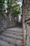 Vieux escaliers à la maison dans les cours Image stock