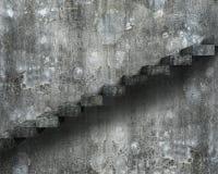 Vieux escaliers concrets sales avec le mur, rendu 3D Photo libre de droits