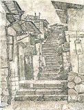 Vieux escaliers en pierre illustration stock
