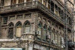 Vieux et authentique balcon à Peshawar, Pakistan image libre de droits