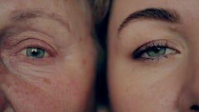 Vieux et jeune oeil Petite-fille et grand-mère face à face banque de vidéos