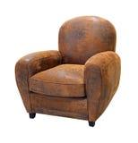 Vieux fauteuil en cuir Images stock