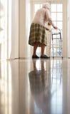 Vieux femme aîné utilisant la trame de marche Photos libres de droits