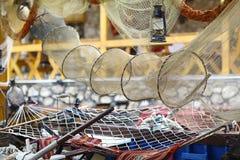 Vieux filets de pêche photographie stock