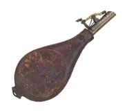 Vieux flacon en cuir de poudre d'isolement Photos libres de droits