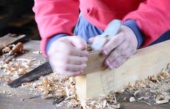 Vieux fonctionnement de charpentier Photos stock