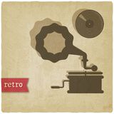 Vieux fond avec le phonographe et le disque Photographie stock