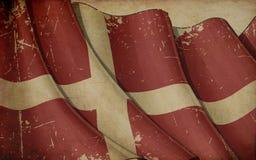 Vieux fond de journal de drapeau danois illustration stock