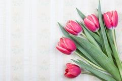 Vieux fond de papier peint avec de belles tulipes Photos stock