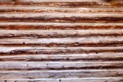 Vieux fond en bois de mur de cabine de logarithme naturel images stock