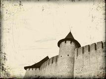 Vieux fond grunge d'art avec le château Photographie stock