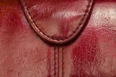 Vieux fond rouge de texture de cuir de bourse Photographie stock