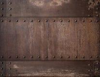 Vieux fond rouillé en métal avec l'illustration des rivets 3d Image libre de droits