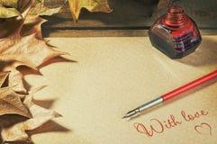 Vieux fontaine de stylo de fond, feuillage et lettre de papier d'encres Photographie stock libre de droits