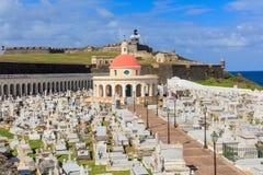 Vieux fort de San Juan, d'EL Morro et cimetière Santa Maria Magdalena, Image stock