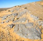 vieux fossile en de sert du Maroc Sahara et du ciel en pierre de roche Photos libres de droits