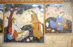 Vieux fresque dans le palais Chehel Sotoun images libres de droits