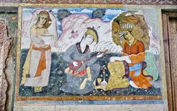 Vieux fresque dans le palais Chehel Sotoun photo libre de droits
