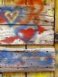Vieux graffiti d'amour de conseils Photographie stock libre de droits
