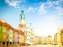 Vieux grand dos du marché à Poznan, Pologne image libre de droits
