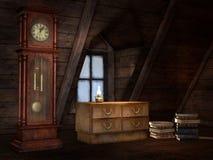Vieux grenier avec une horloge Images stock