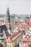 Vieux hôtel de ville dans une place médiévale du marché à Wroclaw, Pologne photos libres de droits