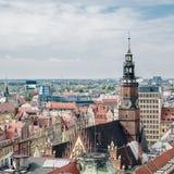 Vieux hôtel de ville dans une place médiévale du marché à Wroclaw, Pologne photo stock