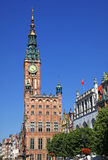 Vieux hôtel de ville dans la ville de Danzig, Pologne Photos libres de droits