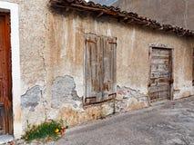 Vieux hangar de pierre et de boue, Grèce Photo stock