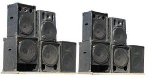 Vieux haut-parleurs puissants d'acoustique de concert d'étape Photo libre de droits