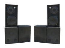 Vieux haut-parleurs puissants d'acoustique de concert d'étape Photographie stock