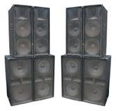 Vieux haut-parleurs puissants d'acoustique de concert d'étape Images libres de droits