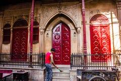 Vieux Haveli/palais dans les bylanes de Delhi Photographie stock libre de droits