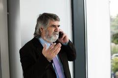 Vieux hommes élégants parlant au téléphone portable Photographie stock libre de droits