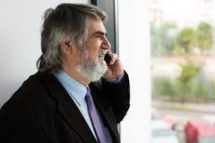 Vieux hommes élégants parlant au téléphone portable Images stock