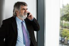 Vieux hommes élégants parlant au téléphone portable Photo stock