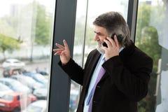 Vieux hommes élégants parlant au téléphone portable Images libres de droits