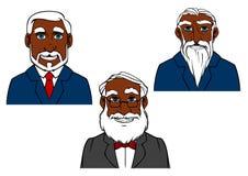 Vieux hommes barbus de bande dessinée dans les costumes élégants Image stock