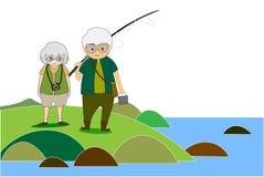 Vieux hommes et corps en bonne santé de femmes faisant la photographie de nature d'activités en plein air, de pêche et de voyage photos stock